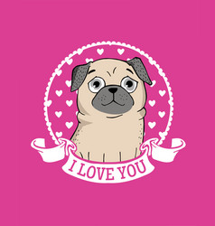 greeting card with funny pug vector image vector image
