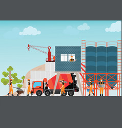 Industrial cement processing plant factory vector