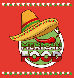 mexican food hat and chili pepper card vector image