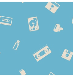 Seamless background with data storage icons vector image