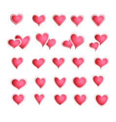 Set of red hearts in different shapes and styles vector