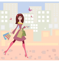 Woman shopping2 vector image vector image