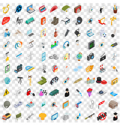 100 employment icons set isometric 3d style vector image
