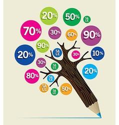 Discount concept pencil tree vector image