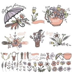 Doodle flowers bouquethand sketched elements kit vector image vector image