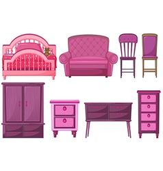 Furnitures in pink color vector image vector image