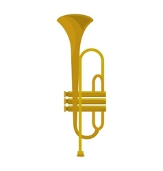 Golden trumpet music instrument icon design vector image vector image