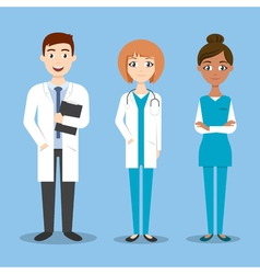 happy doctor characters man and woman vector image