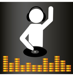 music club dj symbol and equalizer eps10 vector image vector image