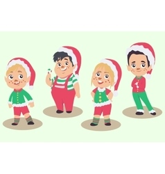 set of Christmas elves isolated on white vector image