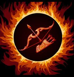 zodiac sign of sagittarius in fire circle vector image vector image