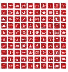 100 preschool education icons set grunge red vector