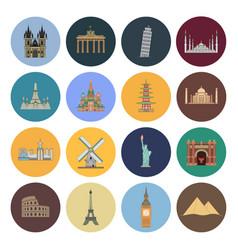 15 flat landmark icons vector