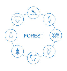 8 forest icons vector