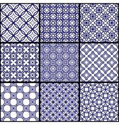 A set of blue seamless geometric patterns vector
