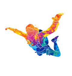 Abstract skydiver paint vector
