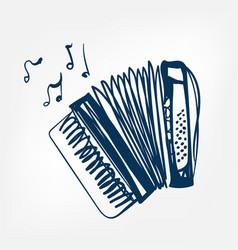 accordion sketch isolated design vector image