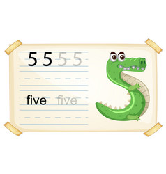 Animal cartoon number five worksheet vector