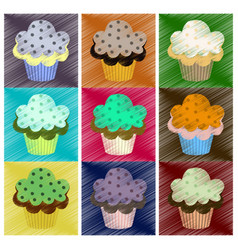 Assembly flat shading style icons muffin vector