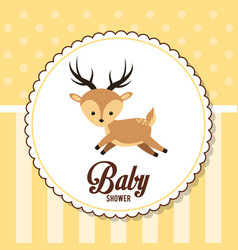 baby shower card invitation cute deer vector image