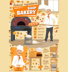 Bakery or pastry shop baker and pizza vector