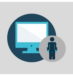 Business silhouette man computer vector