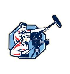 Cameraman Vintage Camera Soundman Boom Retro vector