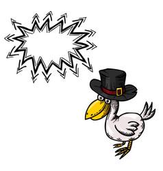 Cartoon image of bird wearing hat vector