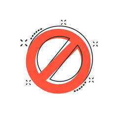 cartoon stop sign icon in comic style danger vector image