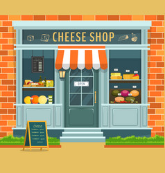 cheese shop with food and wine vector image