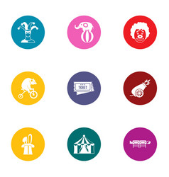 Circus concert icons set flat style vector