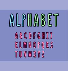 colorful font alphabet modern font minimalist vector image