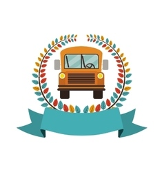 Colorful olive crown with ribbon and school bus vector