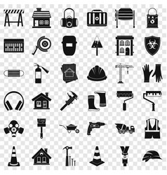 construction shield icons set simple style vector image