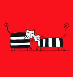 couple of striped cats sketch for your design vector image