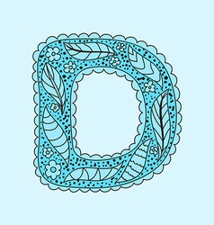 Cute letter D Floral monogram D vector image