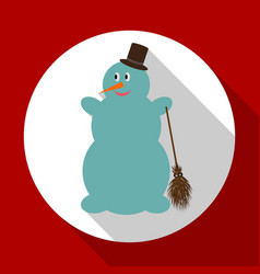 cute snowman on red background with long shadow vector image