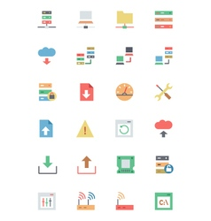 Database and Server Colored Icons 1 vector