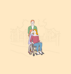 disabled people care love concept vector image