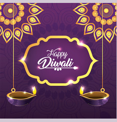 diwali mandalas with vassels lits decoration vector image