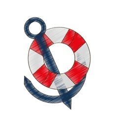 drawing buoy anchor nautical travel maritime vector image