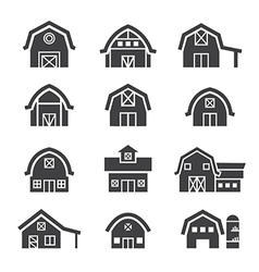 Farm building icon set vector