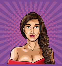 Fashion woman pop art cartoon vector