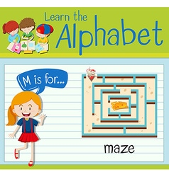 Flashcard alphabet M is for maze vector image