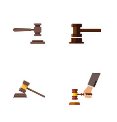 Flat icon hammer set of legal crime court and vector