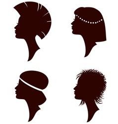 Girl head silhouettes vector