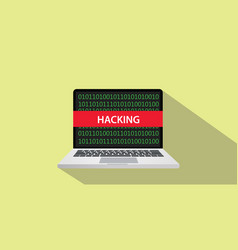 Hacking concept with laptop comuputer and text vector