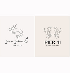 hand drawn collection seafood and fish vector image