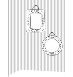 Hand drawn decorative frames on stripes wall vector image