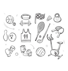 Hand drawn sketch sports fitness equipment vector